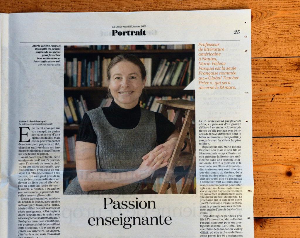 Marie-Hélène Fasquel, parution La Croix, photo Tim Fox